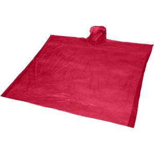 Ziva eldobható esőponcsó tasakkal, piros
