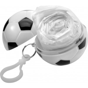 Esőponcsó focis tartóban, fehér